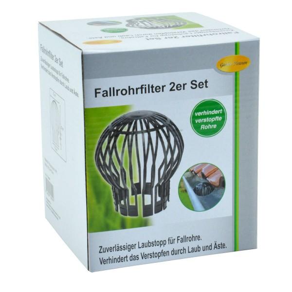 2er Set Fallrohrfilter Dachrinnen-Laubschutz Fallrohrschutz Blättersieb Laubfang
