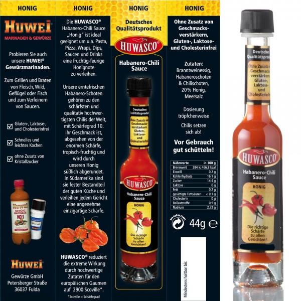 Huwei Habanero-Chili Sauce Gewürz scharf Honig Klassik Knoblauch
