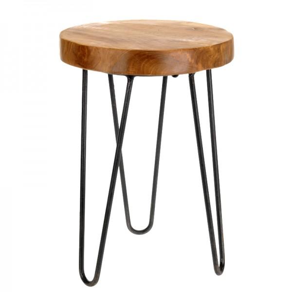 Teak-Holz Tisch Sitzhocker Hocker Teakholz Beistelltisch Tisch Fußhocker 42cm
