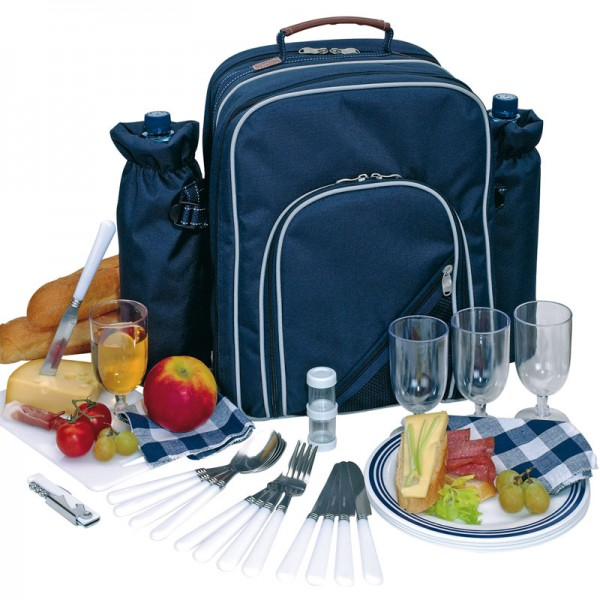 Picknick-Rucksack inkl. Geschirr Picknickkorb Strandtasche Kühltasche 4 Personen