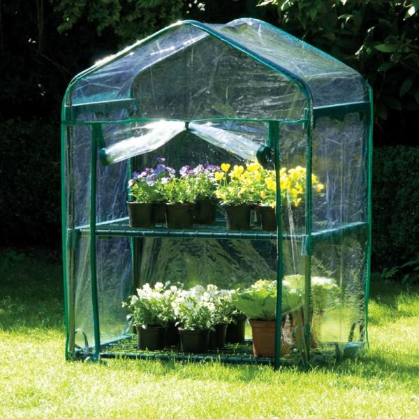 Gewächshaus 2 Ebenen Treibhaus Foliengewächshaus Frühbeet Aufzucht-Beet Pflanzen