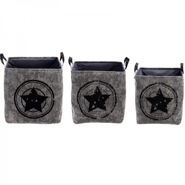 3er Set Korb mit Stern Vintage Wäschekorb Aufbewahrungs-Korb Organizer Kiste Box