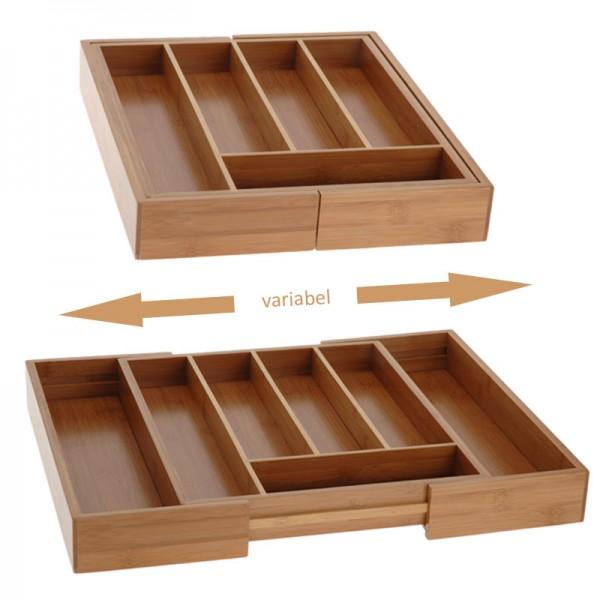 Besteckkasten Bambus ausziehbar 29-45cm Besteckfach Besteck-Einsatz Besteckbox