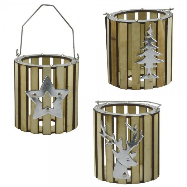 3er Set Kerzenständer Holz Kerzenhalter Weihnachten Deko Stern Baum Hirsch XMAS