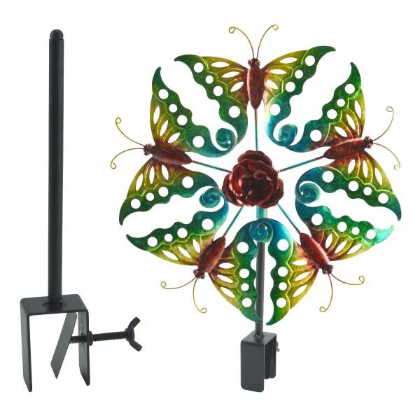 Balkon-Windrad Windspiel Windmühle Garten-Deko Schmetterling inkl. Halterung