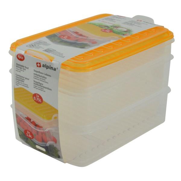 Alpina Aufschnittdosen-Set Frischhaltedosen Vorratsdose Stapelbox 1x0,75L+2x1,6L
