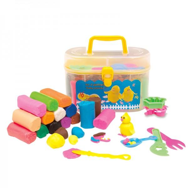 Knet-Köfferchen Knete Kinderknete Knetmasse Modelliermasse Koffer Förmchen Spiel