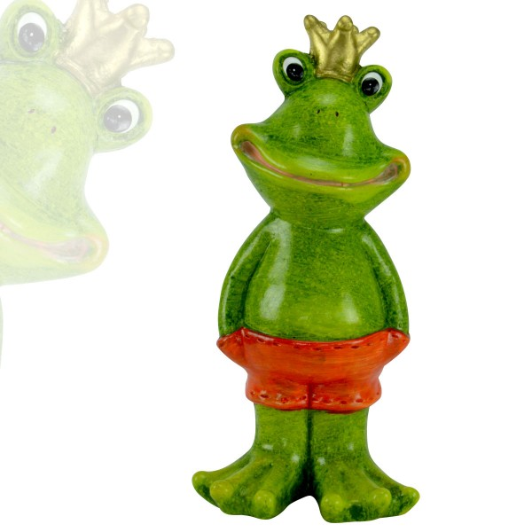 Gartenfigur Froschkönig Frosch Gartendekoration Deko Teich-Figur Skulptur 41cm