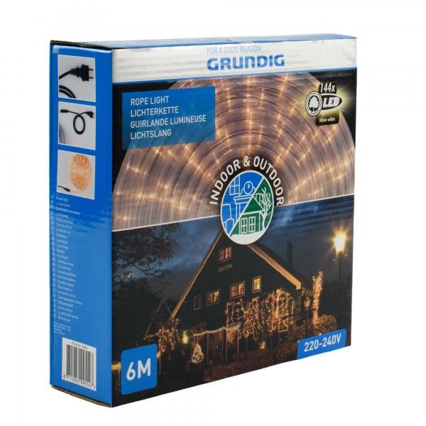 Grundig LED-Lichtschlauch 6m Lichterkette Lichterschlauch 144 LEDs warmweiß IP44