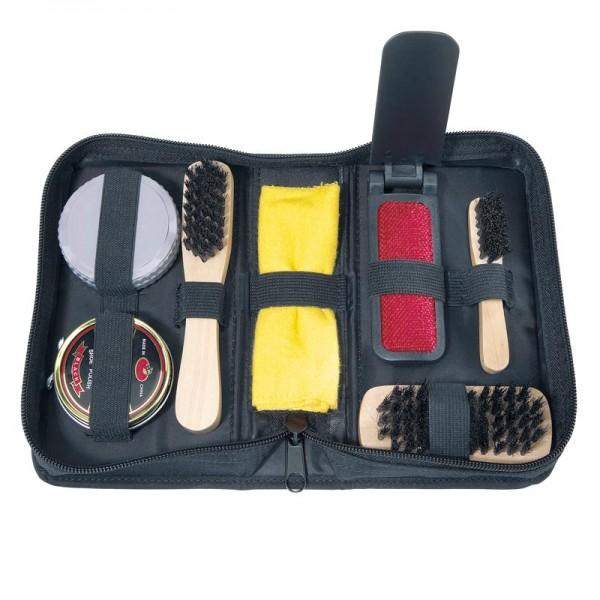 7-tlg. Schuhputz-Set Schuh-Bürsten Set Schupflege Schuhcreme Lederpflege Etui