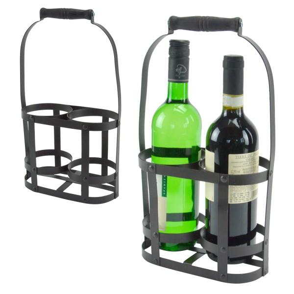 Flaschenkorb Metall Flaschenträger Flaschenhalter Transportkorb Antik 2 Flaschen