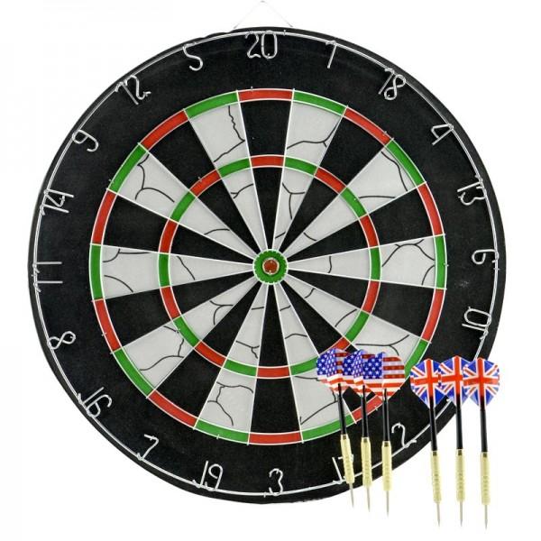 Profi Dartscheibe Dart-Spiel Dartboard Steel-Dart Turnier inkl. 6 Dart-Pfeilen