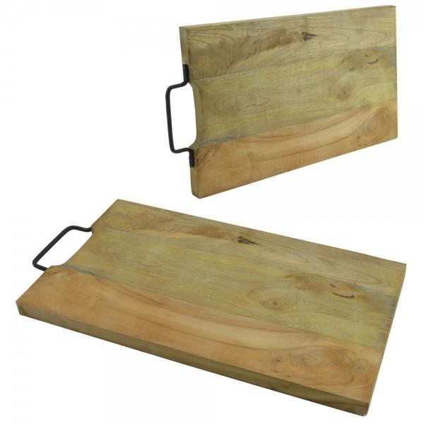 Schneidbrett Mango-Holz Metallgriff Schneidebrett Tranchierbrett Küche 47x25cm