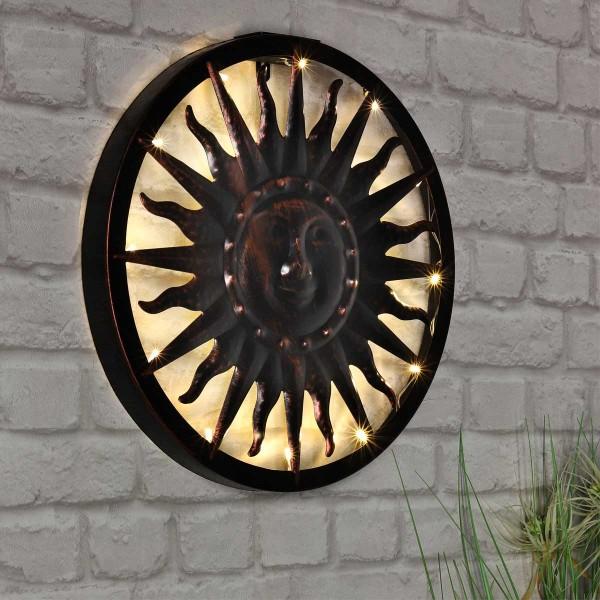 Solar Wandlicht Sonne LED Wandleuchte Lampe Solar-Leuchte Wandbild Lampe Deko