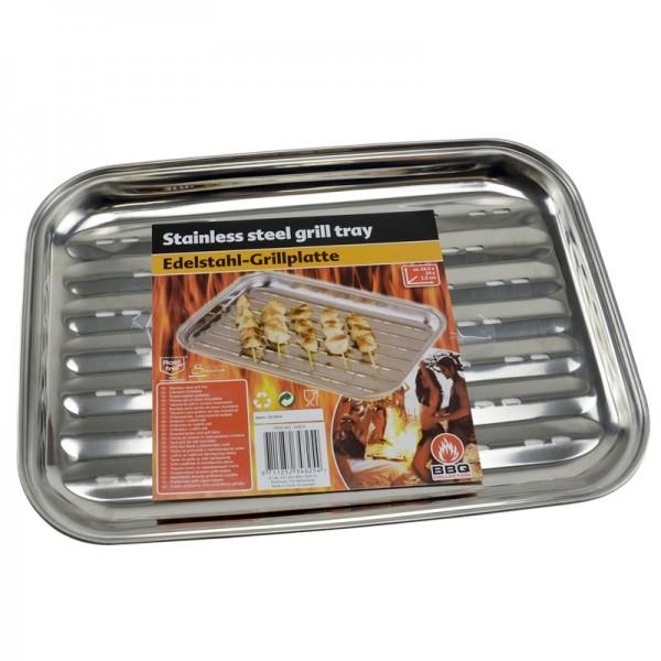 Grillplatte Edelstahl Grill-Teller Bratplatte Grillblech Bratpfanne Gemüseplatte