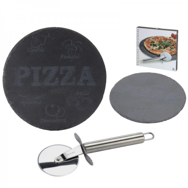 Pizza Set 2-teilig Pizza-Schneidebrett Schiefer Pizza-Schneider Pizzastein