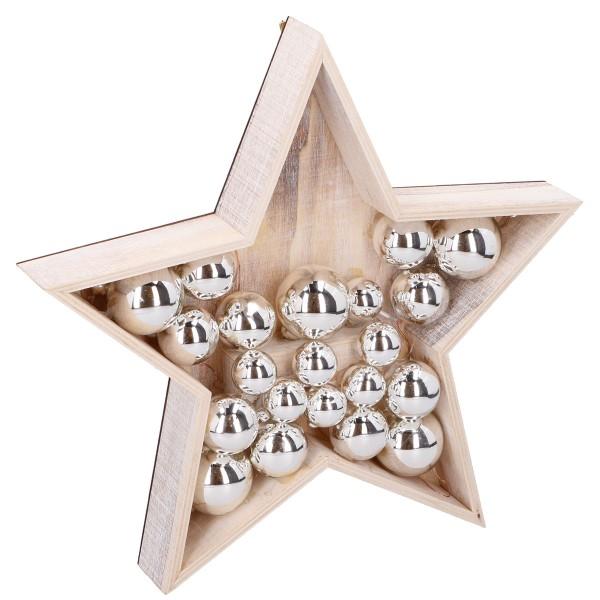 Grundig Weihnachts-Stern Holz LED Holzstern Weihnachten Dekoration