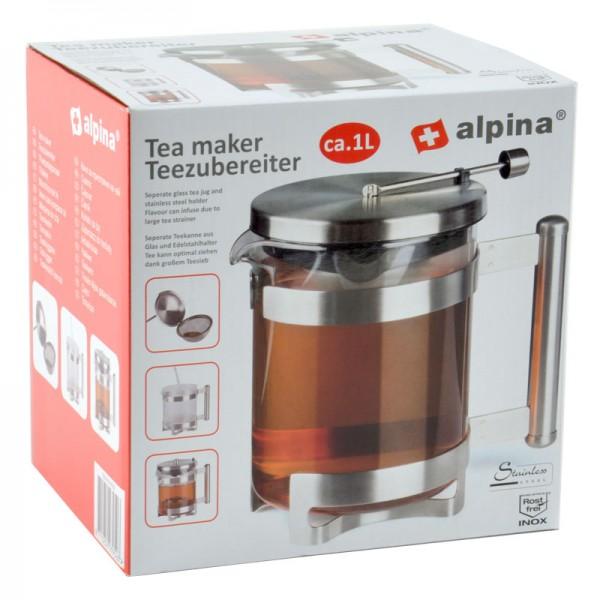 Alpina Teezubereiter Tee-Bereiter Teekanne Kanne Teesieb Filter Glaskanne Tee-Ei