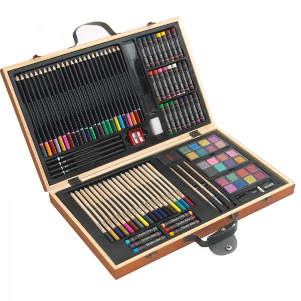 88-tlg. Malkasten Wasser-Farbkasten Buntstifte Wachsmalstifte Pinsel Holz-Koffer