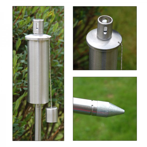 Edelstahl Gartenfackel Fackel Fackeln Windlicht Ölfackel Öllampe 120cm rund NEU