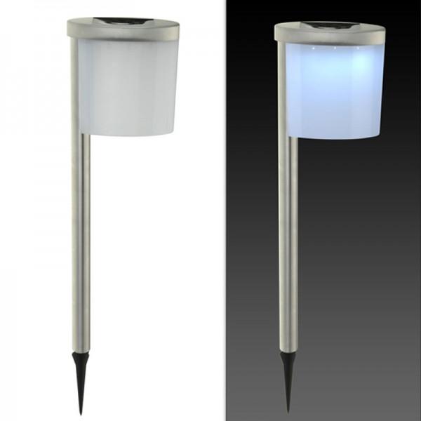 2er Set Solarleuchte Solarlampe LED Gartenbeleuchtung Edelstahl Garten Solar
