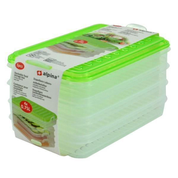 Alpina Aufschnittdosen-Set Frischhaltedosen Vorratsdose Stapelbox 4x0,75L grün