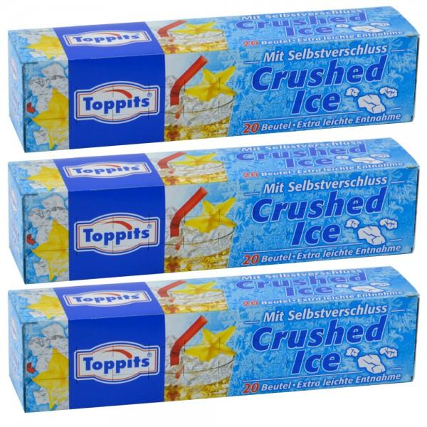 Toppits Crushed Ice 3x 20 Beutel Gefrierbeutel Eiswürfel-Beutel Selbstverschluss
