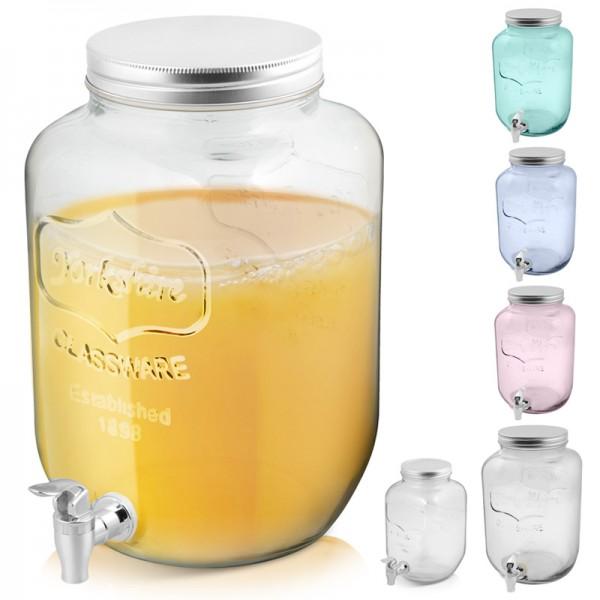 4L 8L Getränkespender XXL Wasserspender Dispenser Glas Behälter mit Zapfhahn XL