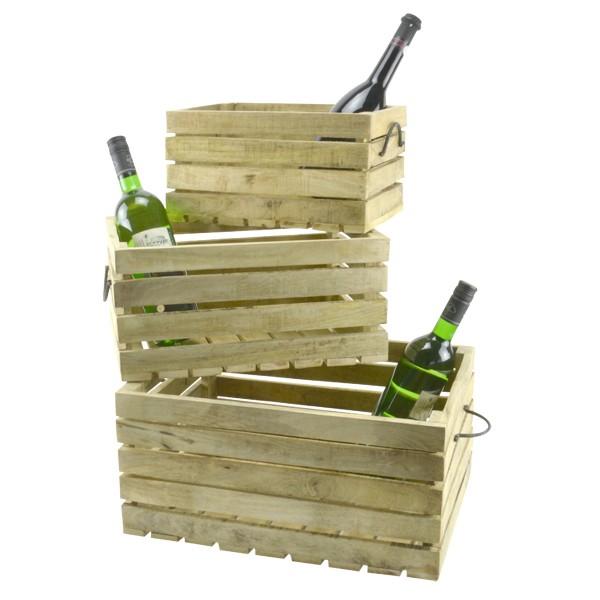 3er Set Dekokisten aus Holz Obst Holzkiste Weinkiste Allzweckkiste Truhe Holzbox