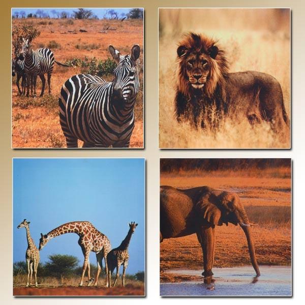 4x Wandbild AFRIKA Gemälde Leinwand Kunstdruck Bild Elefant Löwe Giraffe Zebra