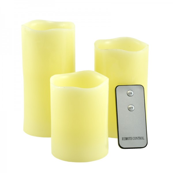 LED Kerzen Echtwachs-Kerze Wachskerze Flackerlicht mit Fernbedienung 3-teilig