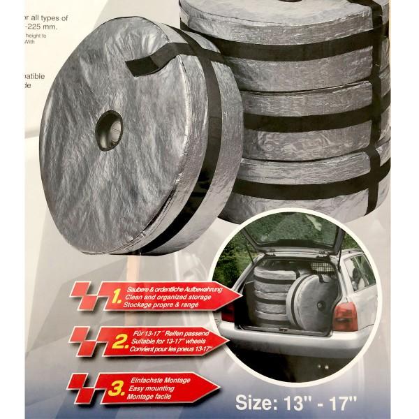 Walser Auto-Reifentaschen Schutz-Hülle Räder Reifen Tasche 13-17 Zoll 4er Set