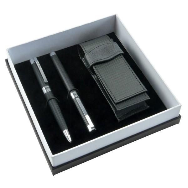 Balmain Paris Kugelschreiber-Set inkl. Tasche schwarz Rollerball Etui