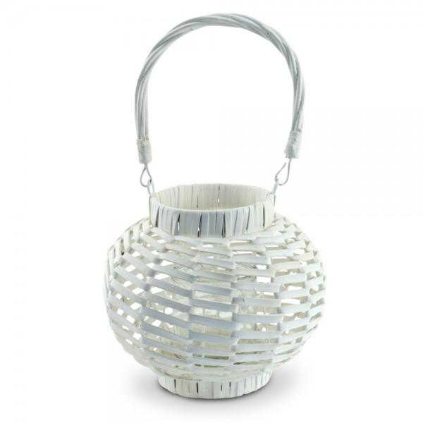 Rattan Laterne Windlicht weiß Kerzenhalter Kerzenständer Teelicht-Halter Deko XL