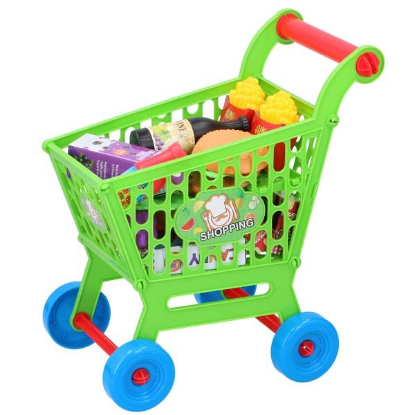 Kinder-Einkaufswagen Set Kaufladen Küche Spielzeug-Lebensmittel Einkaufskorb