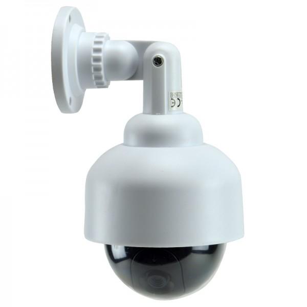 Kamera-Dummy Überwachungskamera Attrappe mit LED Video Sicherheit Dome weiß