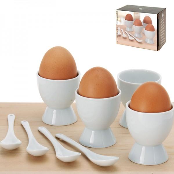8-teiliges Keramik-Eierbecher-Set mit Eierlöffel Frühstücksei Ei Becher weiß