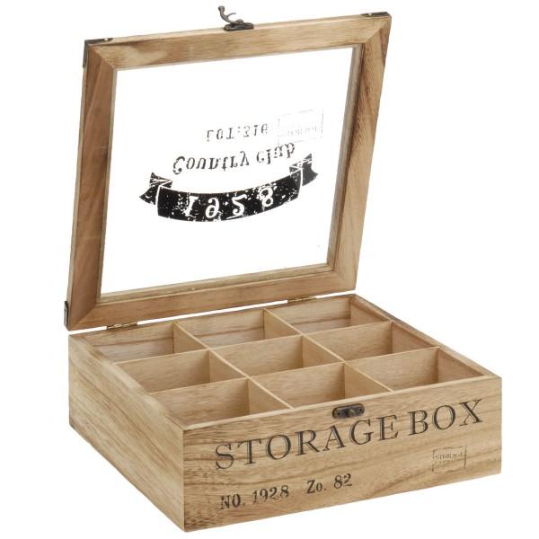 Teekiste Holz 9 Fächer Teedose Teebeutel-KisteTeekastene Kaffeekapstel-Box Tea