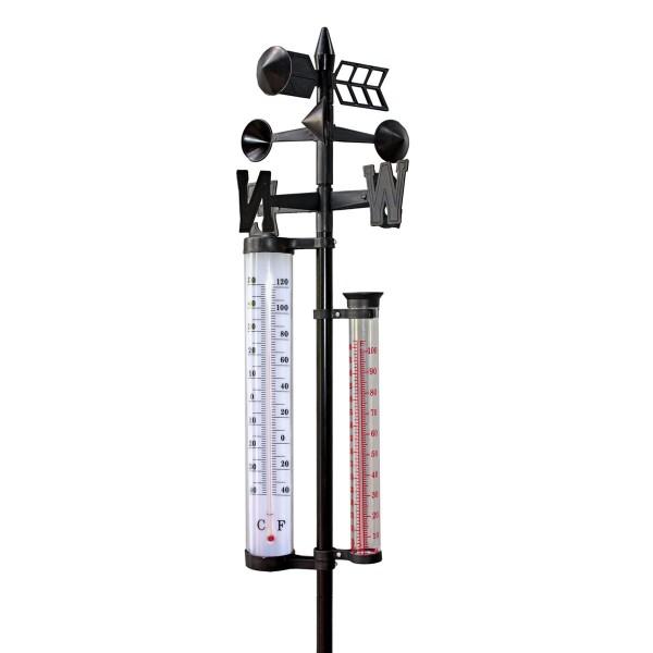 XL Garten-Wetterstation Barometer Regenmesser Thermometer Windgeschwindigkeit