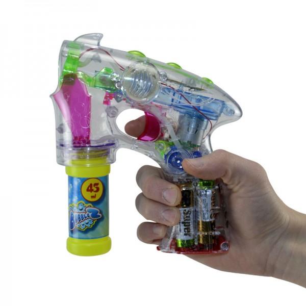 Seifenblasen-Pistole Seifenblasenmaschine Bubble-Gun Licht Sound LED Flüssigkeit