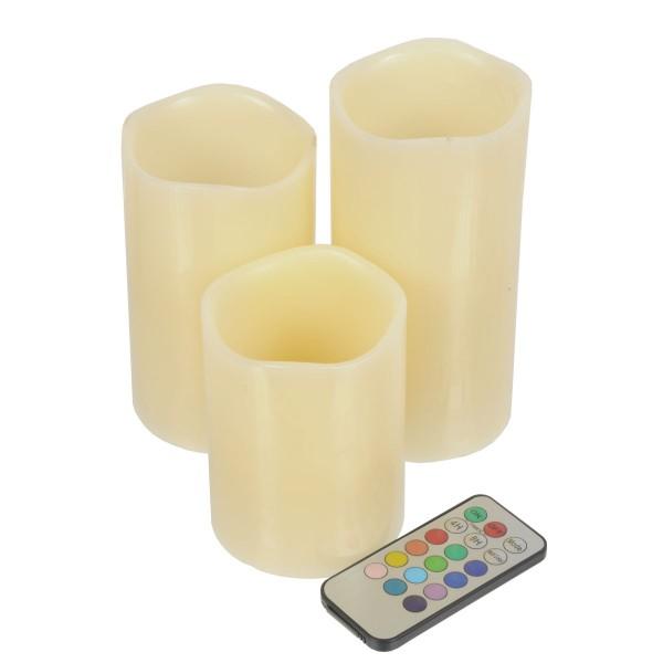 LED Wachs-Kerzen Echtwachs Flackerlicht Fernbedienung Farbwechsel Timer 3-tlg.