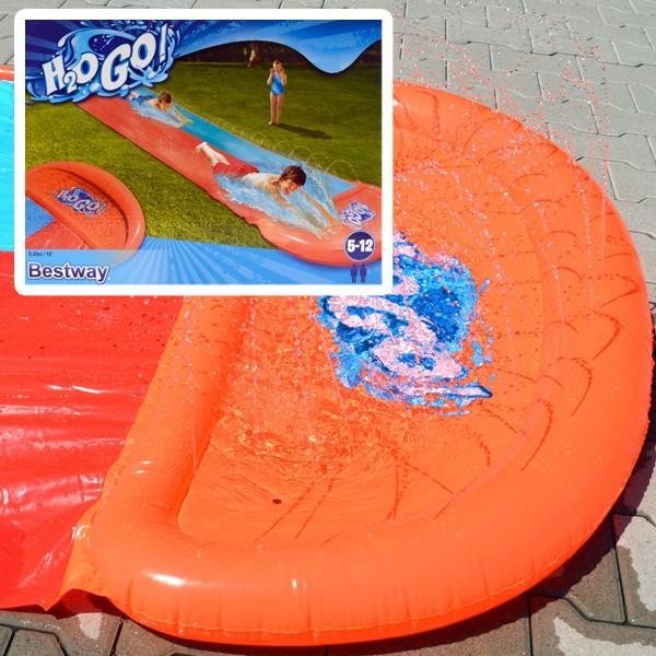 Bestway Doppel-Wasserrutsche 549cm Wasserbahn Rutsche Rutschbahn Kinder-Badespaß
